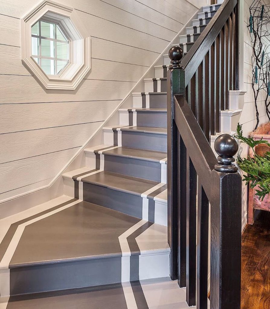 Image of stairs with a new look by @farmshenanigans