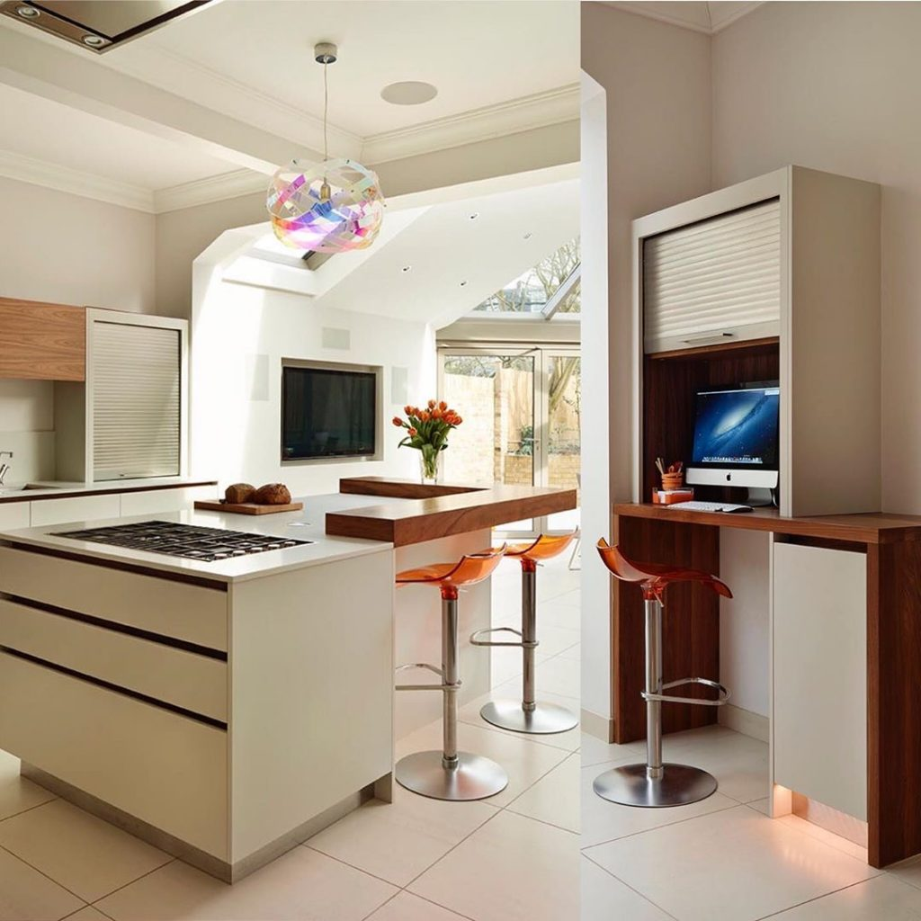 Image of a kitchen with desk area by @roundhouse_design